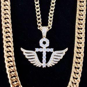 ANKH WINGS SET DIAMONDS CZ 18K GOLD CHAIN ITALY
